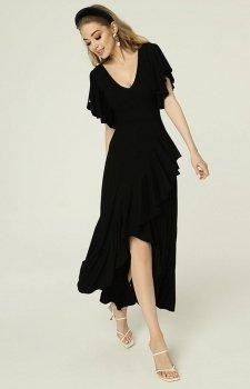 Sukienka z asymetrycznym dołem i falbankami czarna Juanita