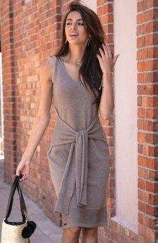 Fobya F541 sukienka dzianinowa mocca