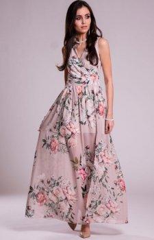 Szyfonowa długa sukienka letnia w kwiaty D02