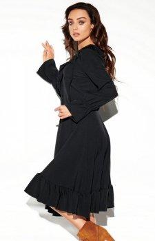 Rozkloszowana sukienka z wiązaniem czarna L313