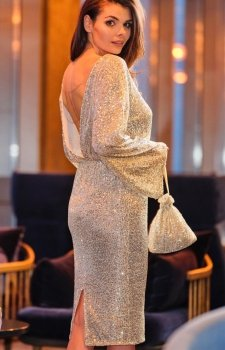 Cekinowa sukienka midi A402