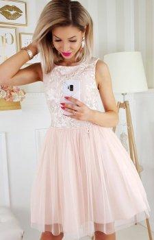 Beżowa sukienka z tiulem 2179-21
