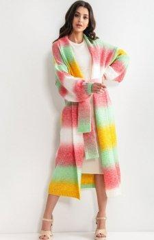 Długi kardigan multicolor tahiti z wełną F1160