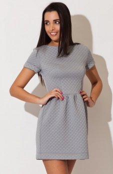 Katrus K147 sukienka szara pikowana