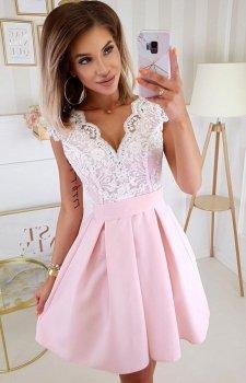 Bicotone 2139-32 sukienka balowa róż-ecru