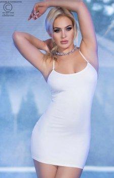 Dopasowana biała mini sukienka 4380