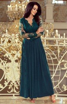 Numoco 213-1 Atati sukienka maxi butelkowa zieleń