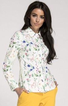 Klasyczna Koszula z Długim Rękawem biała w kwiaty NA1015
