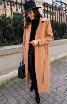 Długi płaszcz z wiązaniem karmelowy 0017
