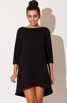 Katrus K134 sukienka pikowana czarna