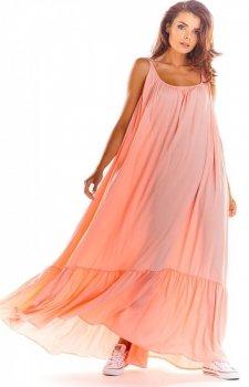 Zwiewna sukienka letnia pudrowy róż maxi A307