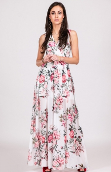 Szyfonowa długa sukienka letnia w kwiaty D12