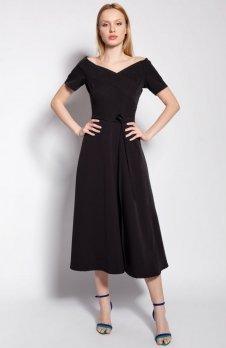 Sukienka trapezowa midi czarna SUK181