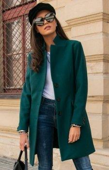 Elegancki płaszcz z wełną zielony Roco P012