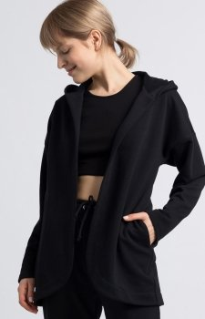 Oversizowa bluza z kapturem czarna LA058