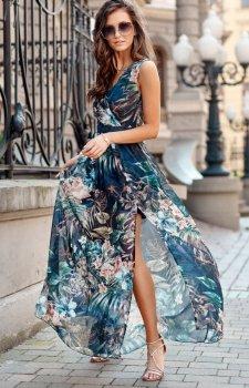 Szyfonowa długa sukienka letnia kolorowa 0209 R72