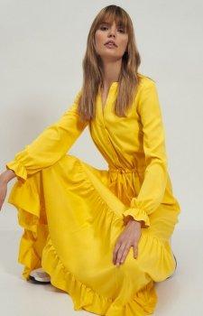 Długa sukienka żółta z falbaną s178