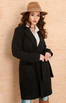 *Wiązany płaszcz damski czarny 0019