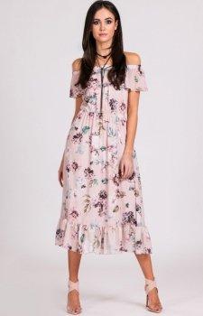 Sukienka z hiszpańskim dekoltem w kwiaty 0247/D01