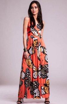 Sukienka długa w motyle pomarańczowa 0236