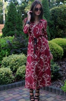 Roco 0220 sukienka długa bordowa