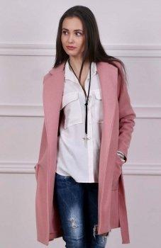 Wiązany płaszcz wiosenny brudny róż Roco 007
