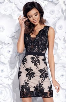 Bicotone 2163-16 sukienka czarno-beżowa