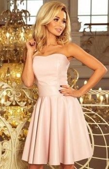 Numoco 83-3 sukienka z ekoskóry pastelowy róż