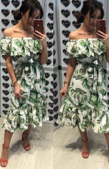 Kobieca sukienka hiszpanka jasny wzór midi