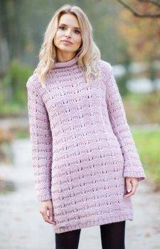 Fobya F599 sukienka sweterkowa pudrowy róż