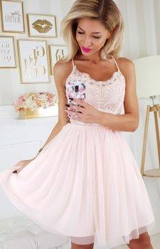 Koronkowa sukienka z tiulowym dołem 2186-17