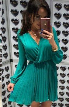 Lola Fashion plisowana sukienka zielona