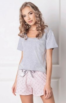 Aruelle Q Short piżama szaro-różowa