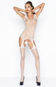 Passion BS043 bodystocking białe