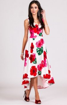 Asymetryczna sukienka w czerwone kwiaty 0249