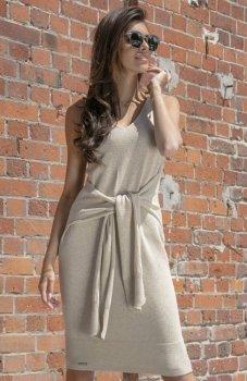 *Fobya F541 sukienka dzianinowa beżowa