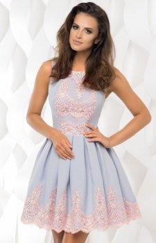 Plisowana sukienka z koronką 2119-31