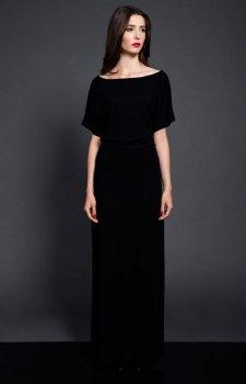 Kasia Miciak design czarna długa z rozporkiem sukienka