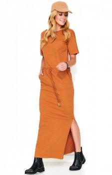 *Sukienka maxi karmelowa M468