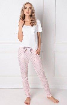 Aruelle Q Long piżama biało-różowa