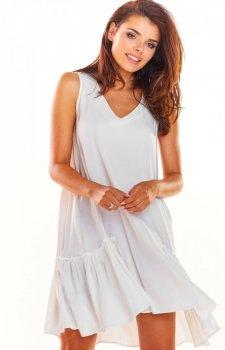 Luźna sukienka z falbaną na dole biała A285