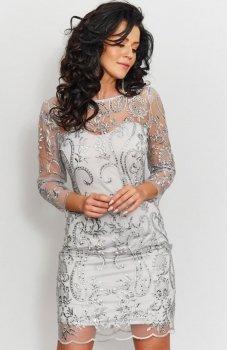 Roco 0201 sukienka koronkowa szara