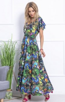Zielono-niebieska sukienka maxi w kwiaty F712