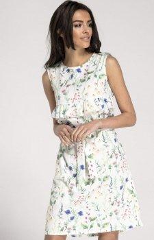 Prosta sukienka w kwiaty ecru NA1001