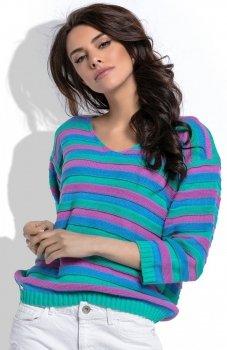 Fobya F516 sweter w paski miętowy