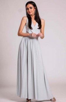 Wieczorowa sukienka z brokatem szara 224