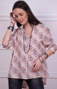Oversizowa koszula damska w modny wzór Roco 0051