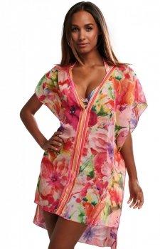 Papaya kwiatowa sukienka plażowa