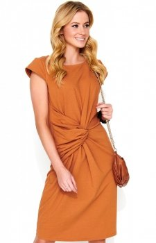 *Sukienka z wiązaniem M471 karmelowa