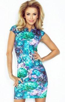 SAF 132-7 sukienka kwiaty zielone